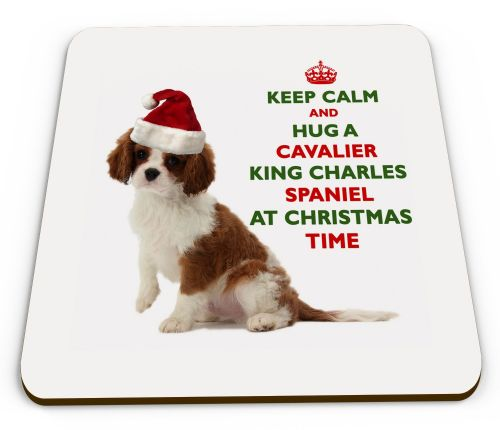 Christmas Keep Calm And Hug A Cavalier King Charles Spaniel Novelty Glossy Mug Coaster